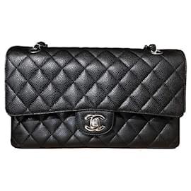Chanel-Chanel black caviar médio saco de aba clássico SHW-Preto