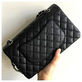 Chanel-Chanel black caviar medium classic flap bag SHW-Black