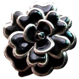 Chanel-Chanel Camellia bangle bracelet cuff-Black,Silvery