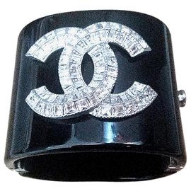 Chanel-Chanel black and crystal diamante bracelet cuff-Black
