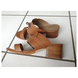 Hermès-Kelly sandals-Caramel