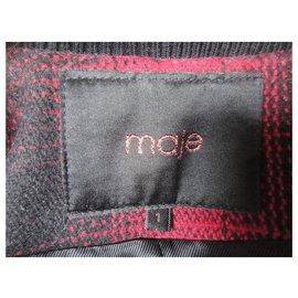 Maje-blouson Maje laine et cuir, état neuf-Noir,Rouge