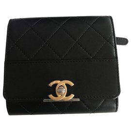 Chanel-CHANEL CLASSIC BLACK LEATHER CLASSIC PORTFOLIO . NEVER SERVED , PERFECT CONDITION!-Black