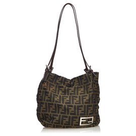 Fendi-Fendi Brown Zucca Canvas Shoulder Bag-Brown