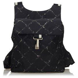 Chanel-Chanel Black Old Travel Nylon Backpack-Black,White,Cream