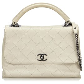 Chanel-Chanel White Quilted Lambskin Leather Satchel-White,Cream