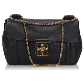 Chloé-Chloe Black Leather Elsie Shoulder Bag-Black