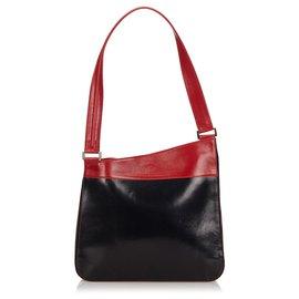 Fendi-Fendi Black Leather Shoulder Bag-Black,Red