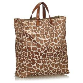 Fendi-Fendi Brown Leopard Print Canvas Tote Bag-Brown,Beige