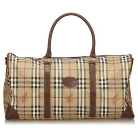 Burberry-Burberry Brown Haymarket Check Canvas Travel Bag-Brown,Multiple colors,Beige