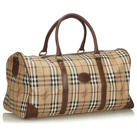 Burberry-Burberry Brown Haymarket Check Canvas Travel Bag-Brown,Multiple colors,Beige