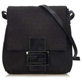 Fendi-Fendi Black Zucchino Canvas Crossbody Bag-Black