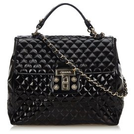 Chanel-Chanel Black Quilted Patent Leather Satchel-Black