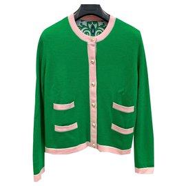 Tory Burch-Cardigan en laine mérinos sophistiquée-Vert clair