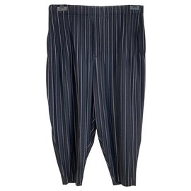 Issey Miyake-Calças Homme Plissé-Azul marinho
