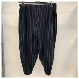 Issey Miyake-Plissé trousers-Navy blue