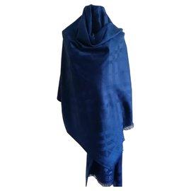 Burberry-Burberry magnifique foulard en laine et cachemire-Bleu Marine