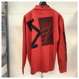 Off White-T-shirt de mangas compridas Splitted Arrows-Vermelho