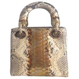 Dior-Lady Dior Mini Python Gold-Doré