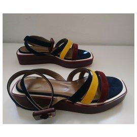 Hermès-Hermès leather wedge sandals 38-Multiple colors