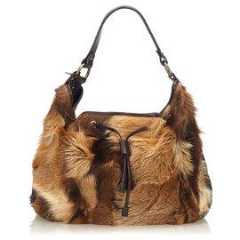 Fendi-Fendi Brown Fur Drawstring Shoulder Bag-Brown