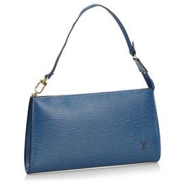 Louis Vuitton-Louis Vuitton Blue Epi Pochette Accessoires-Bleu