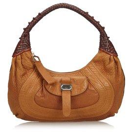 Fendi-Fendi Brown Leather Spy-Brown,Light brown