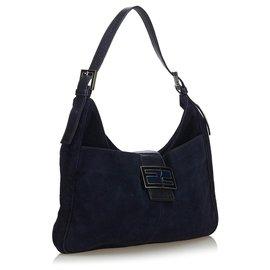 Fendi-Fendi Blue Suede Shoulder Bag-Blue,Navy blue