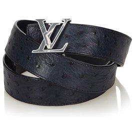 Louis Vuitton-Ceinture Initiale Louis Vuitton en cuir d'autruche bleu-Bleu,Bleu Marine