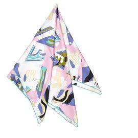 Fendi-Fendi White Printed Silk Scarf-White,Multiple colors,Cream