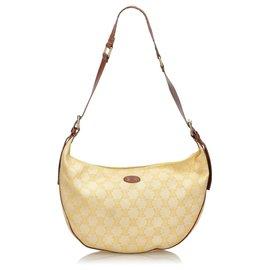 Céline-Celine White Macadam Canvas Shoulder Bag-White,Yellow