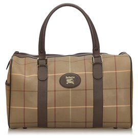 Burberry-Burberry Brown Plaid Canvas Duffle Bag-Brown,Multiple colors,Light brown