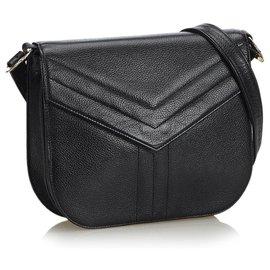 Yves Saint Laurent-Sac bandoulière en cuir noir YSL-Noir