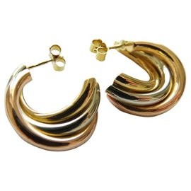 Autre Marque-creole earring 3 golds 18K-Golden