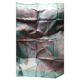 Hermès-Carre-Rose,Écru,Vert clair