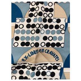 Hermès-ex libris en cravate-Blanc cassé
