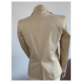 Pinko-Tailleur jupe Pinko couleur paille à rayures blanches-Blanc cassé