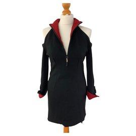 Gianfranco Ferré-Robe noire 44 Italien en laine et soie-Noir