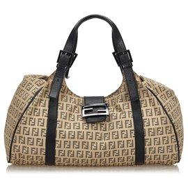 Fendi-Fendi Brown Zucchino Canvas Shoulder Bag-Brown,Black,Beige