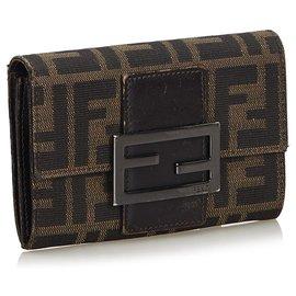 Fendi-Fendi Brown Zucchino Canvas Small Wallet-Brown