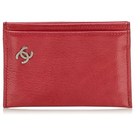 Chanel-Chanel Red Leather Cardholder-Red