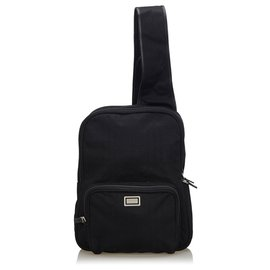 Burberry-Burberry Black Plaid Cotton Backpack-Black