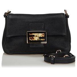 Fendi-Fendi Black Leather Crossbody Bag-Black