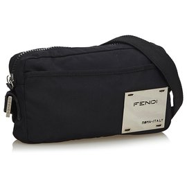 Fendi-Fendi Black Nylon Crossbody Bag-Black