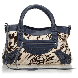 Balenciaga-Balenciaga White Motocross Pony Hair Classic First Handbag-White,Blue,Navy blue