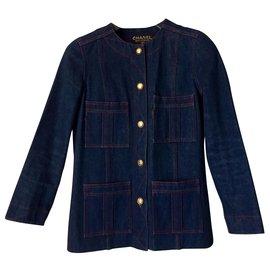 Chanel-Veste Chanel en jean-Bleu Marine