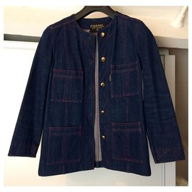 Chanel-Chanel denim jacket-Navy blue