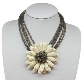 Autre Marque-Flower necklace-White