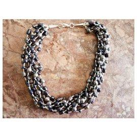Autre Marque-Pearl necklace-Dark grey