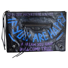 Balenciaga-Classic Graffiti Leather Pouch Bag-Multiple colors